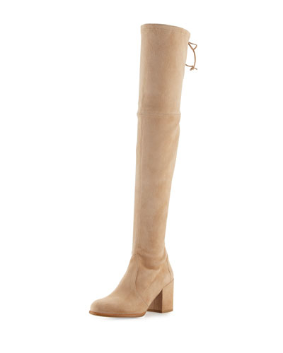 Tieland Suede Over-the-Knee Boot, Skin