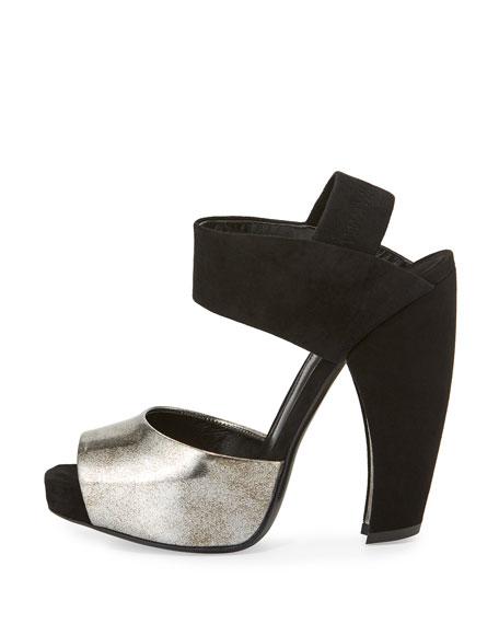 Suede & Leather Slingback Sandal, Hematite/Black