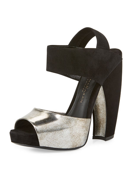 Donna Karan Suede & Leather Slingback Sandal, Hematite/Black