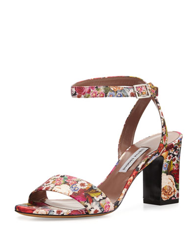 Leticia Floral 75mm City Sandal, Multi Tapestry
