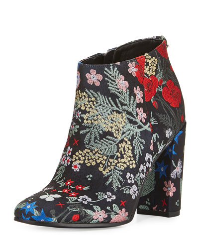 Cambell Floral Ankle Boot, Gray/Multi