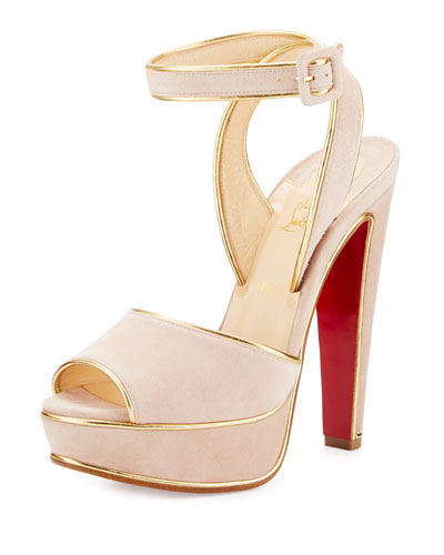 Louloudance Suede Platform Red Sole Sandal, Pink/Gold