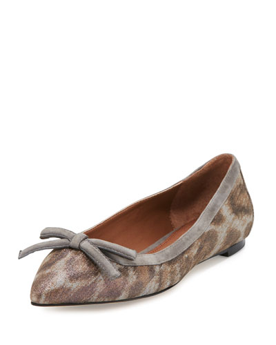 Beth Bow Leopard-Print Flat, Taupe