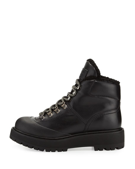 Shearling-Trim Leather Hiking Boot, Black (Nero)