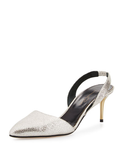 Pamie Leather Slingback 55mm Pump, Smoke