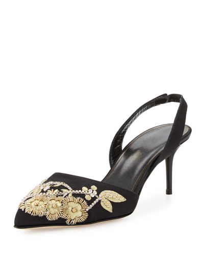 Pamie Satin Slingback 55mm Pump, Black/Gold