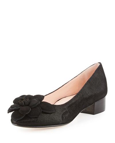 Farak Floral Low-Heel Pump, Black