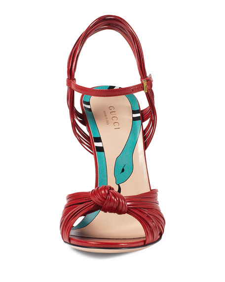 Allie Leather Knot Sandal, Hibiscus