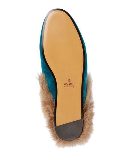 Princetown Velvet Fur-Lined Mule, Teal