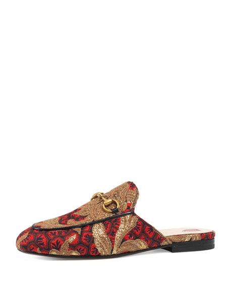 Gucci Princetown Jacquard Horsebit Mule, Red/Gold