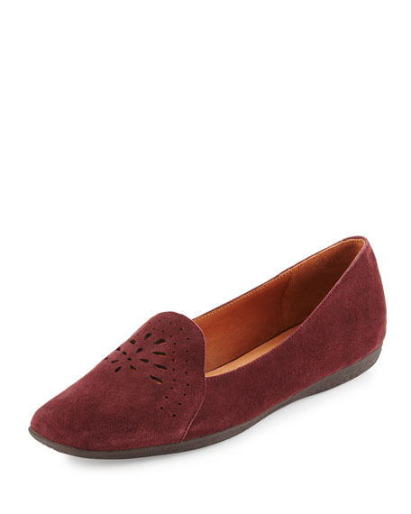 Erica Perforated Suede Loafer, Oxblood