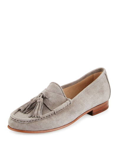 Therese Suede Tassel Loafer, Gray Frost