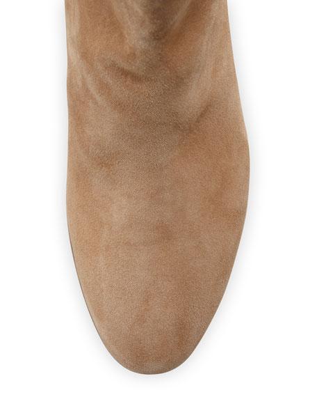 Taye Suede Chunky-Heel Bootie, Golden Caramel