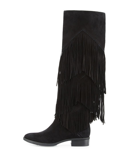 Pendra Fringe Knee Boot, Black