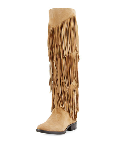 Pendra Fringe Knee Boot, Oatmeal