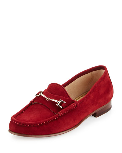 Talia Suede Horsebit Loafer, Tango Red