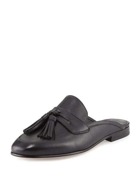 Paris Leather Tassel Mule, Black