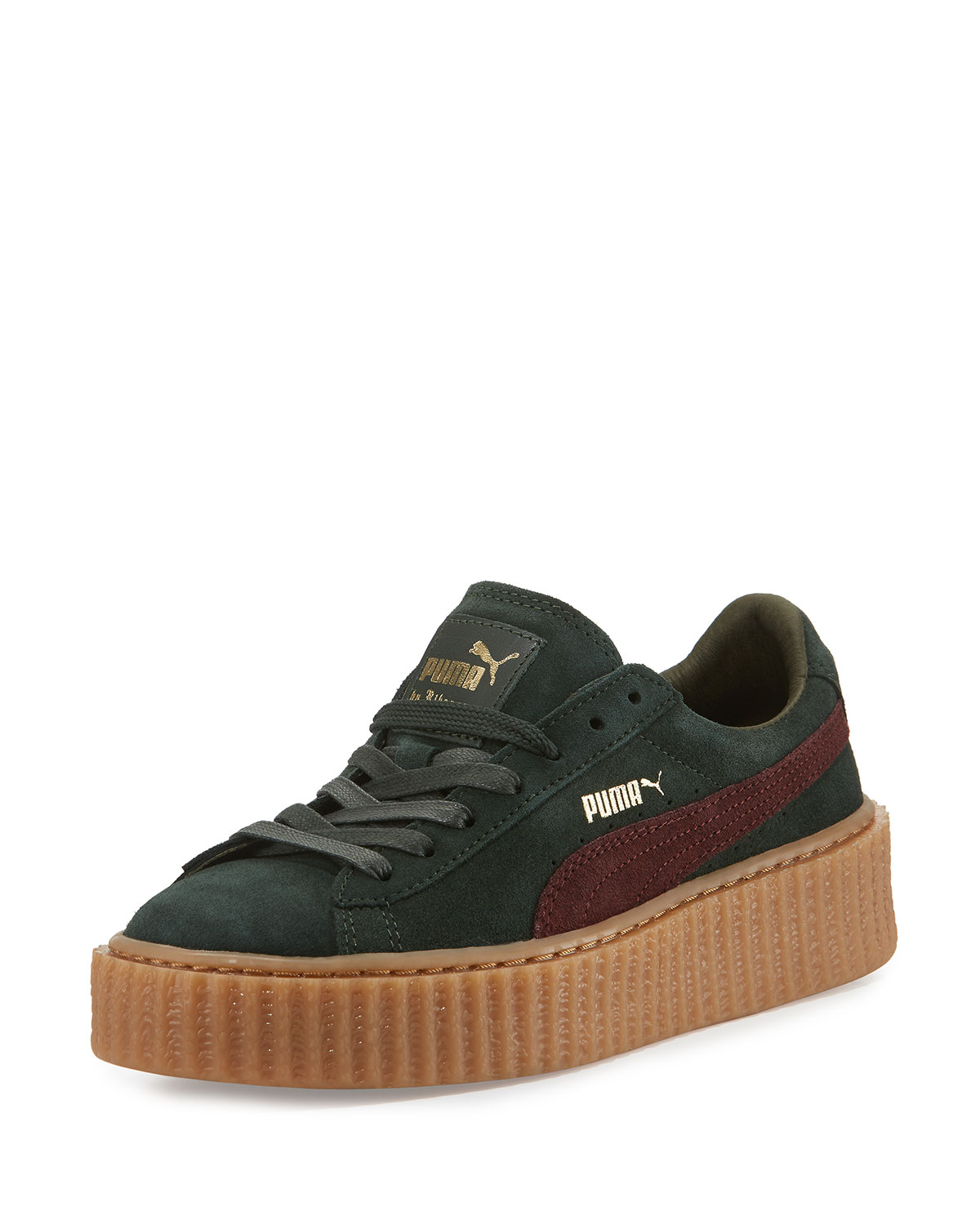 new style 405ea 12546 Suede Platform Creeper, Green/Bordeaux
