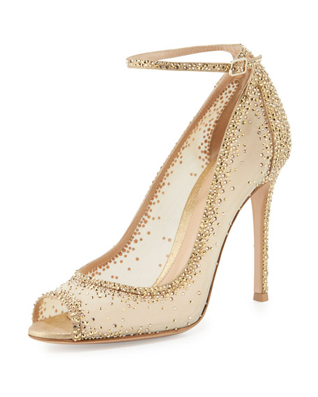 Gemma Crystal Peep-Toe Ankle-Strap Pump, Gold