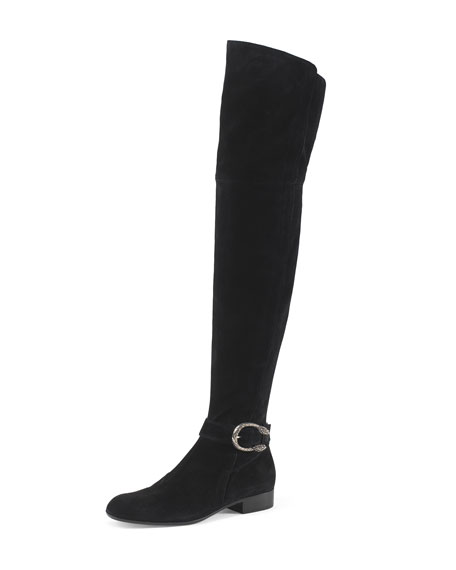 Gucci Dionysus Suede Over-The-Knee Boot, Nero