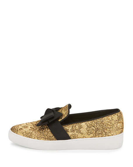 Val Brocade Bow Skate Sneaker, Gold/Black