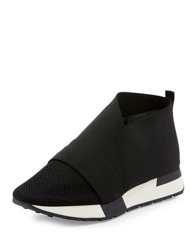 Elastic & Mesh High-Top Sneaker, Black/White