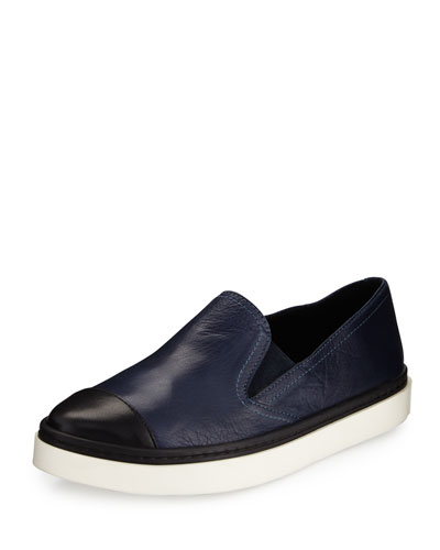 Danielle Cap-Toe Leather Skate Sneaker, Navy/Black