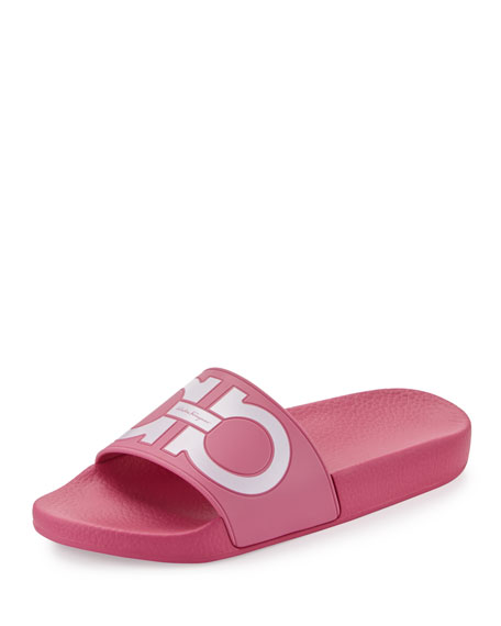 Groove Gancini Flat Slide Sandals, Bubble/Bianco
