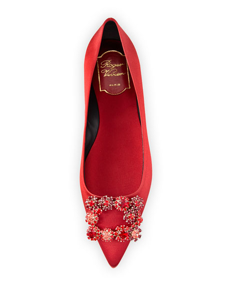 Floral Strass Buckle Ballerina Flat, Red