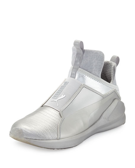 Fierce Lizard-Embossed High-Top Sneaker, Silver
