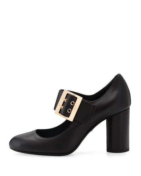 Leather 85mm Mary Jane Pump, Black