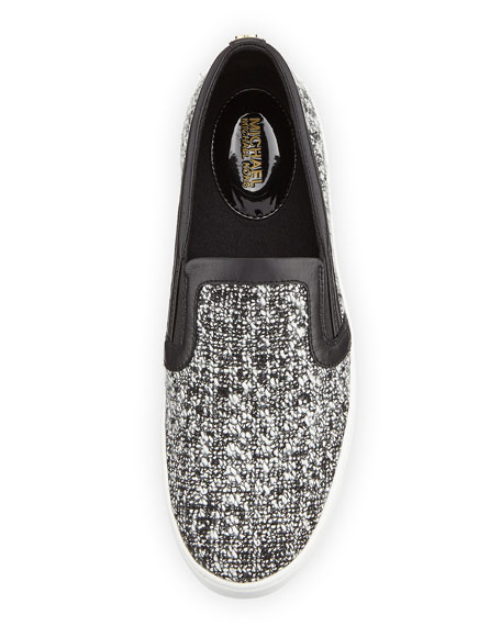 Leo Tweed Slip-On Sneaker, Black/White