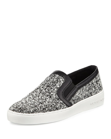 michael michael kors leo tweed slip on sneaker black white neiman marcus. Black Bedroom Furniture Sets. Home Design Ideas