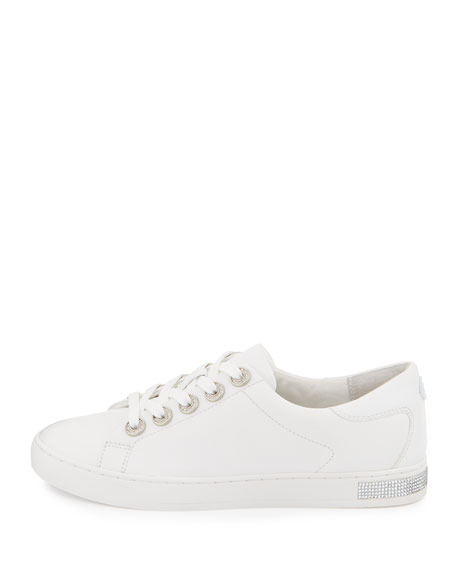 Halle Crystal Leather Sneaker, Optic White
