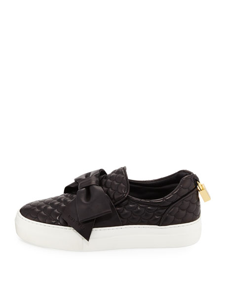 Women's 40mm Quilted Bow Skate Sneaker, Black