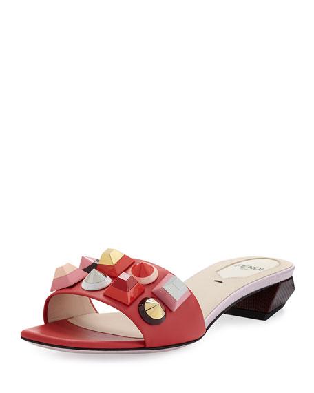 Studded Leather Slide Sandal, Red/Pink