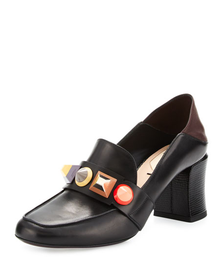 Fendi Rainbow Studded Mid-Heel Loafer Pump, Nero/Bordeaux/Multi