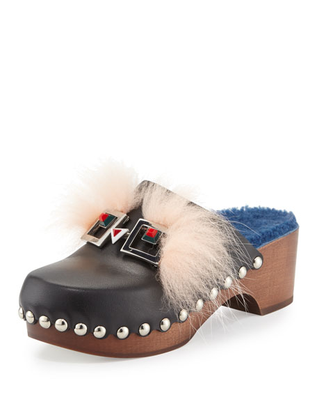 Fendi Fox-Fur Shearling-Lined Monster Clog, Nero/Cobalto/Palm