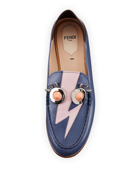 Studded Leather Faces Moccasin, Mirto/Cotton Candy/Bordeaux