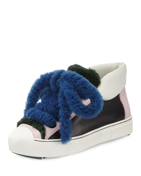 Fendi Shearling High-Top Sneakers, Nero/Cotton Candy