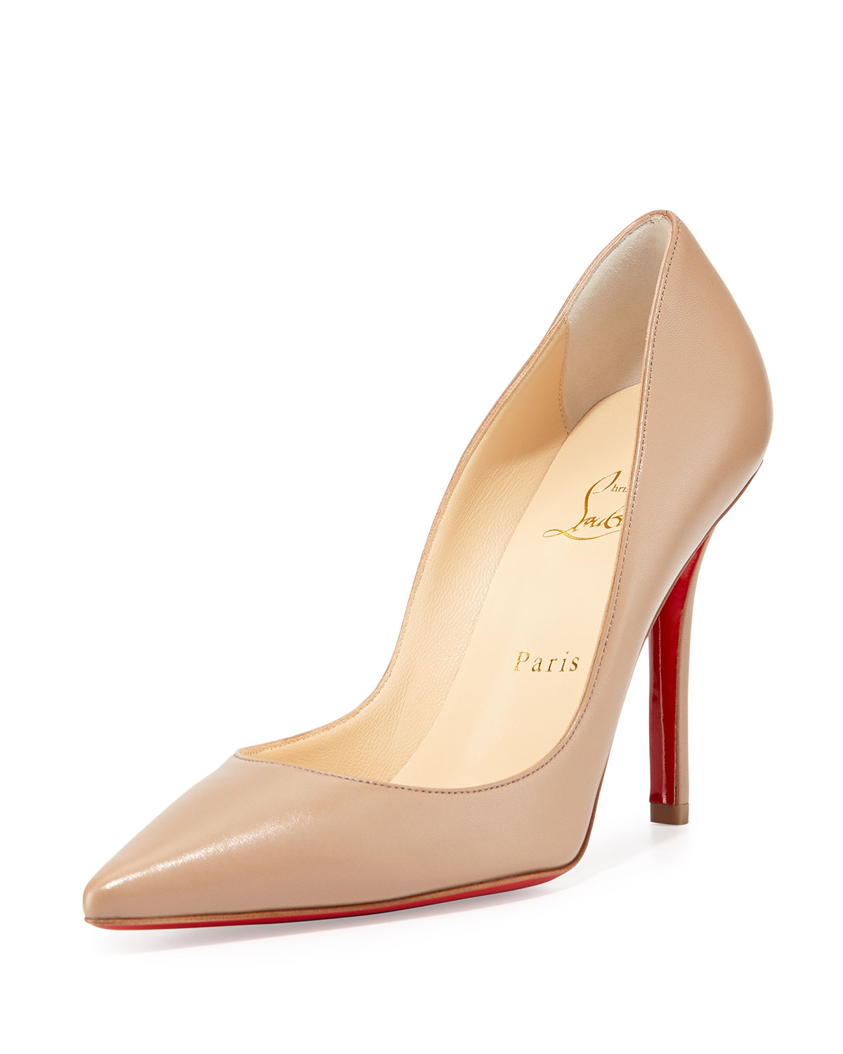 44eb14ab049 Apostrophy Pointed Red Sole Pump, Nude