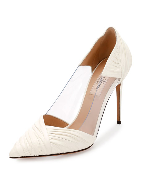 Valentino Garavani B-Drape Leather 100mm Pump, Ivory