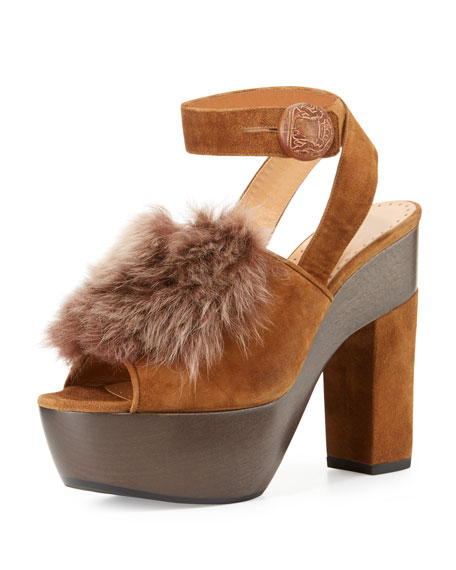 Alexa Wagner Gretchen Fur Ankle-Wrap Sandal, Brown