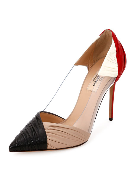B Drape Leather 100mm Pump, Red/Black/Ivory/Poudre by Neiman Marcus