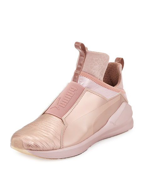 Fierce Lizard-Embossed High-Top Sneaker, Rose Gold