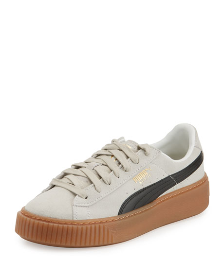 Puma Basket Suede Platform Creeper, Whisper White/Black
