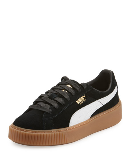 Puma Basket Suede Platform Creeper, Black/White