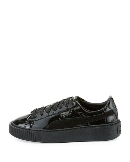 Basket Patent Platform Low-Top Sneaker, Black