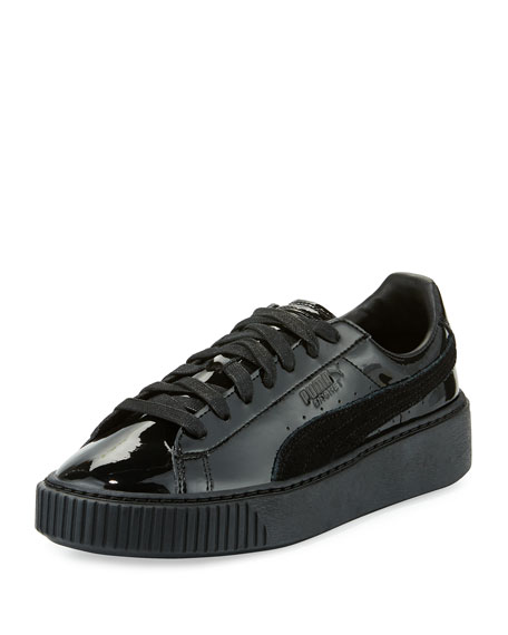 Basket Patent Platform Low-Top Sneaker, Black