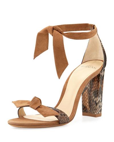 Clarita Suede & Python 90mm Sandal, Beige
